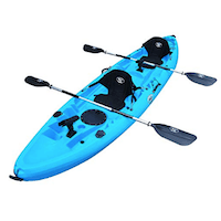 BKC-UH-TK219-12-foot-Tandem-Sit-On-Top-Kayak-2-or-3-person-with-2-Paddles-and-Seats